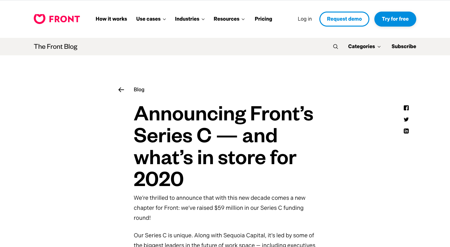 Announcing Front's Series C — and what's in store for 2020