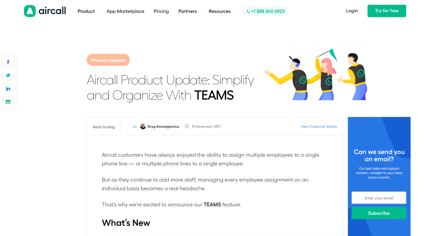 Aircall Product Update: Simplify and Organize With TEAMS