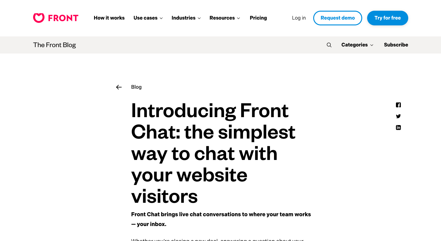 Introducing Front Chat: the simplest way to chat with your website visitors