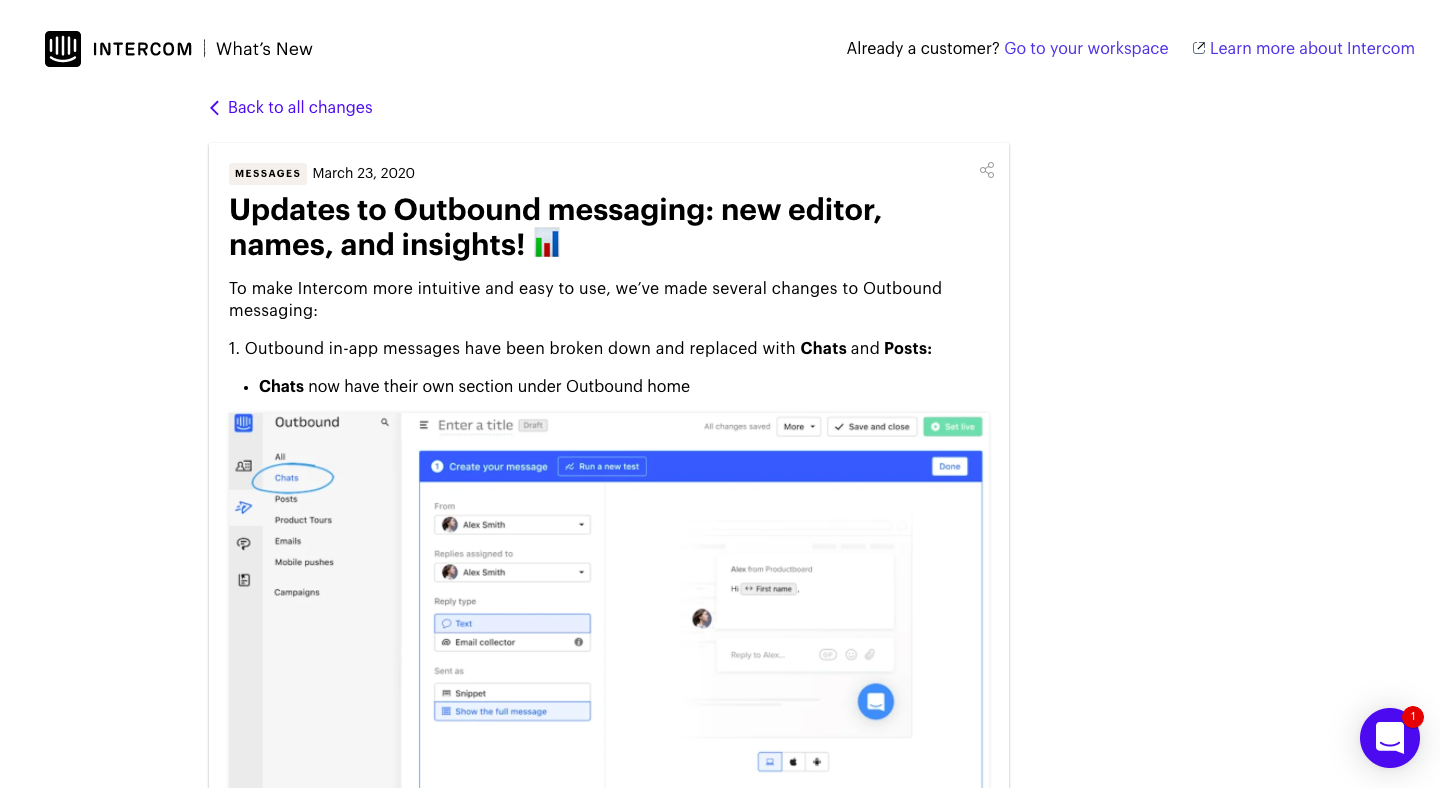 Updates to Outbound messaging: new editor, names, and insights! 📊