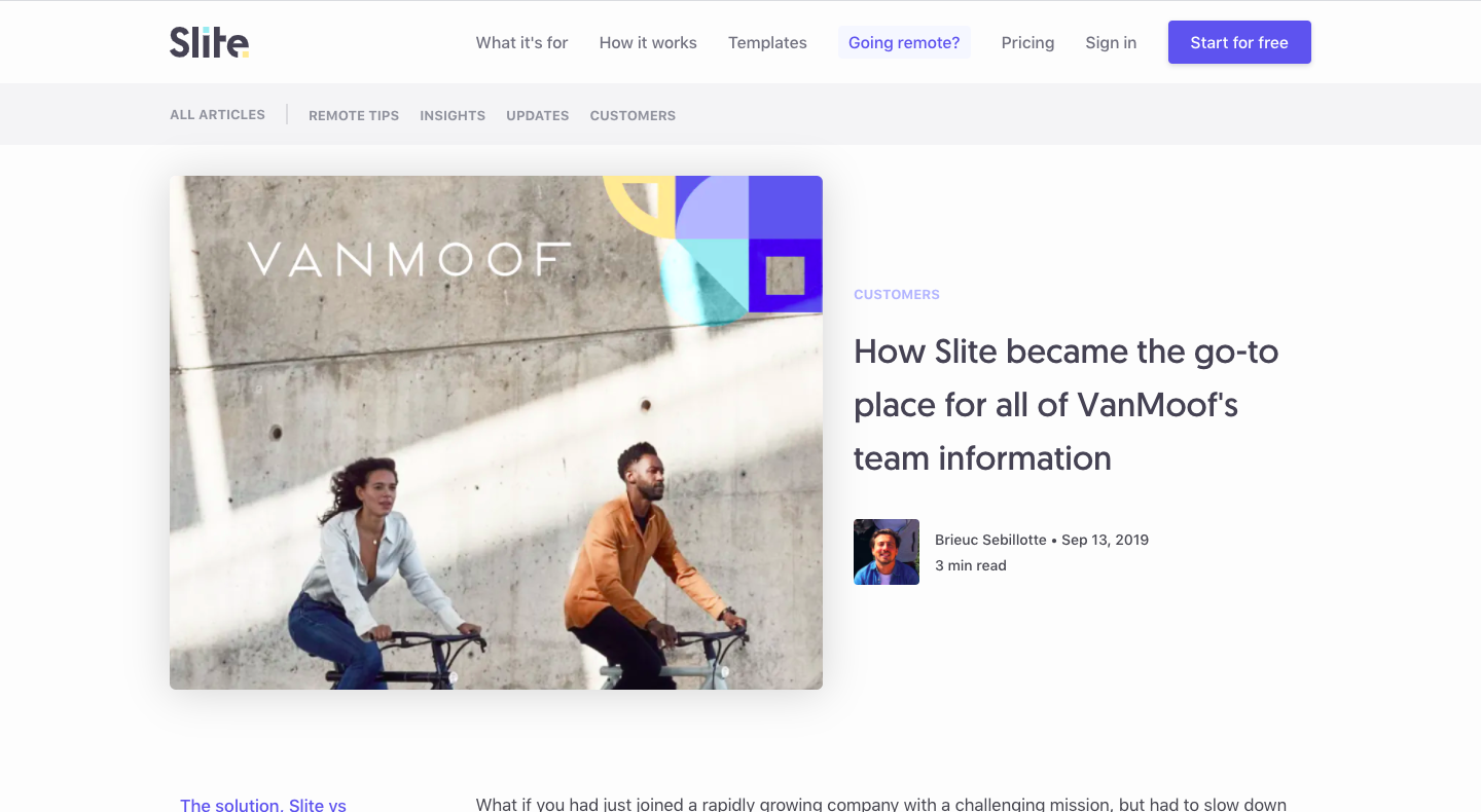 How Slite became the go-to place for all of VanMoof's team information