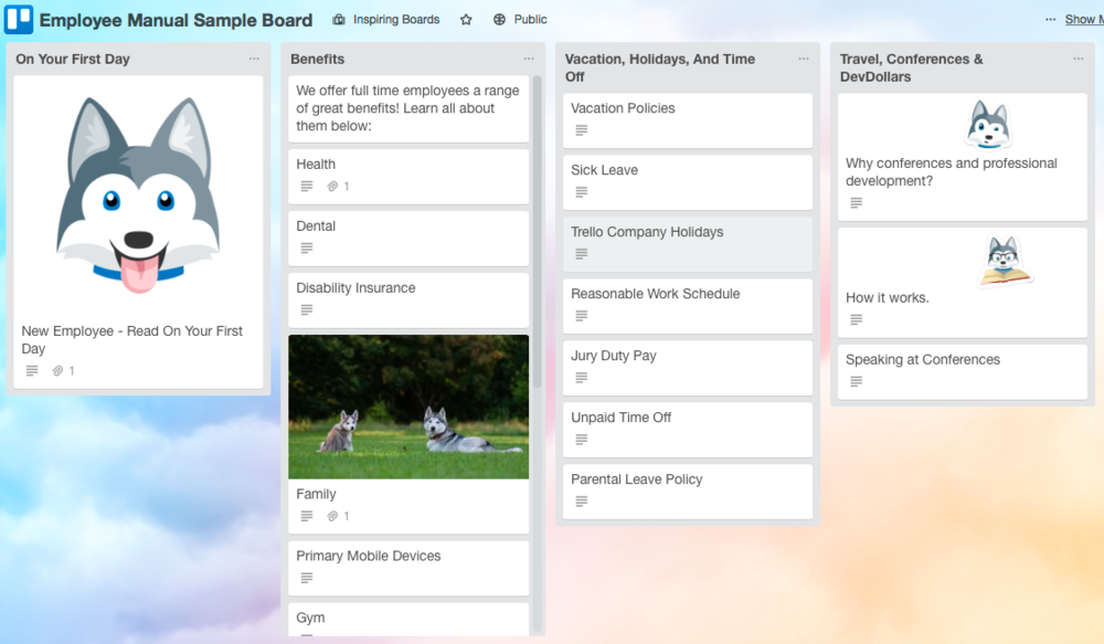 Trello Employee Manual Board