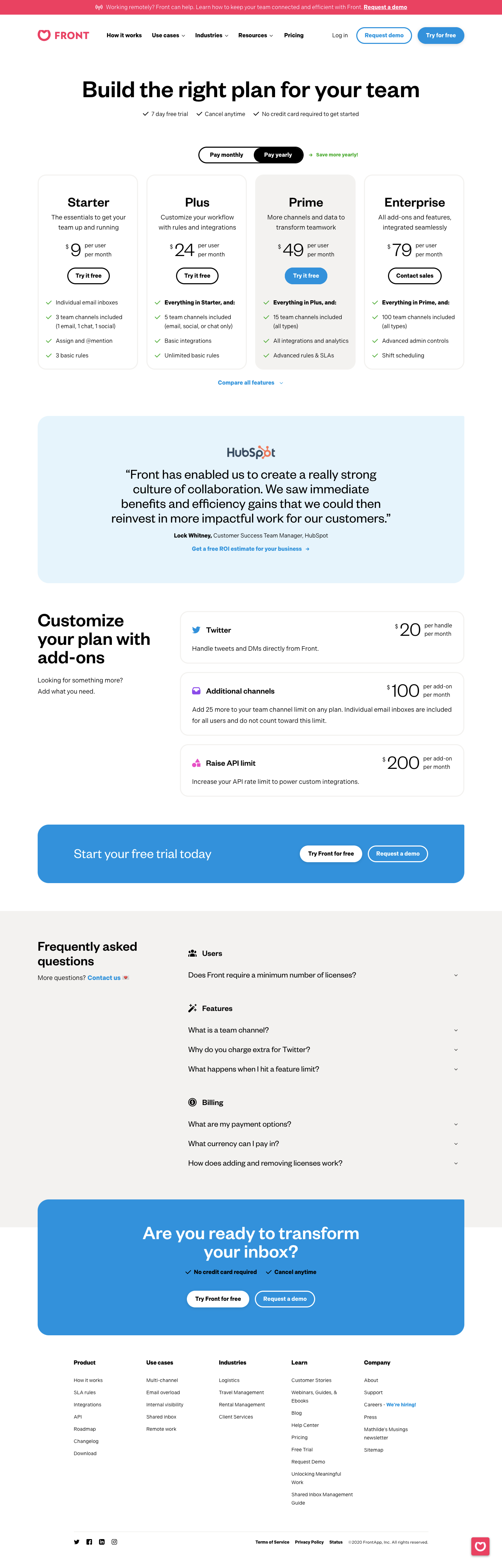 Front's Pricing Page