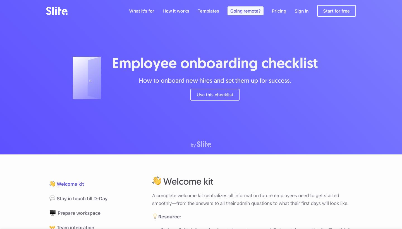 Slite Employee Onboarding Checklist