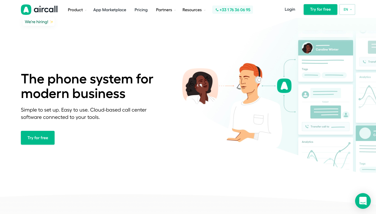 Aircall's Landing Page