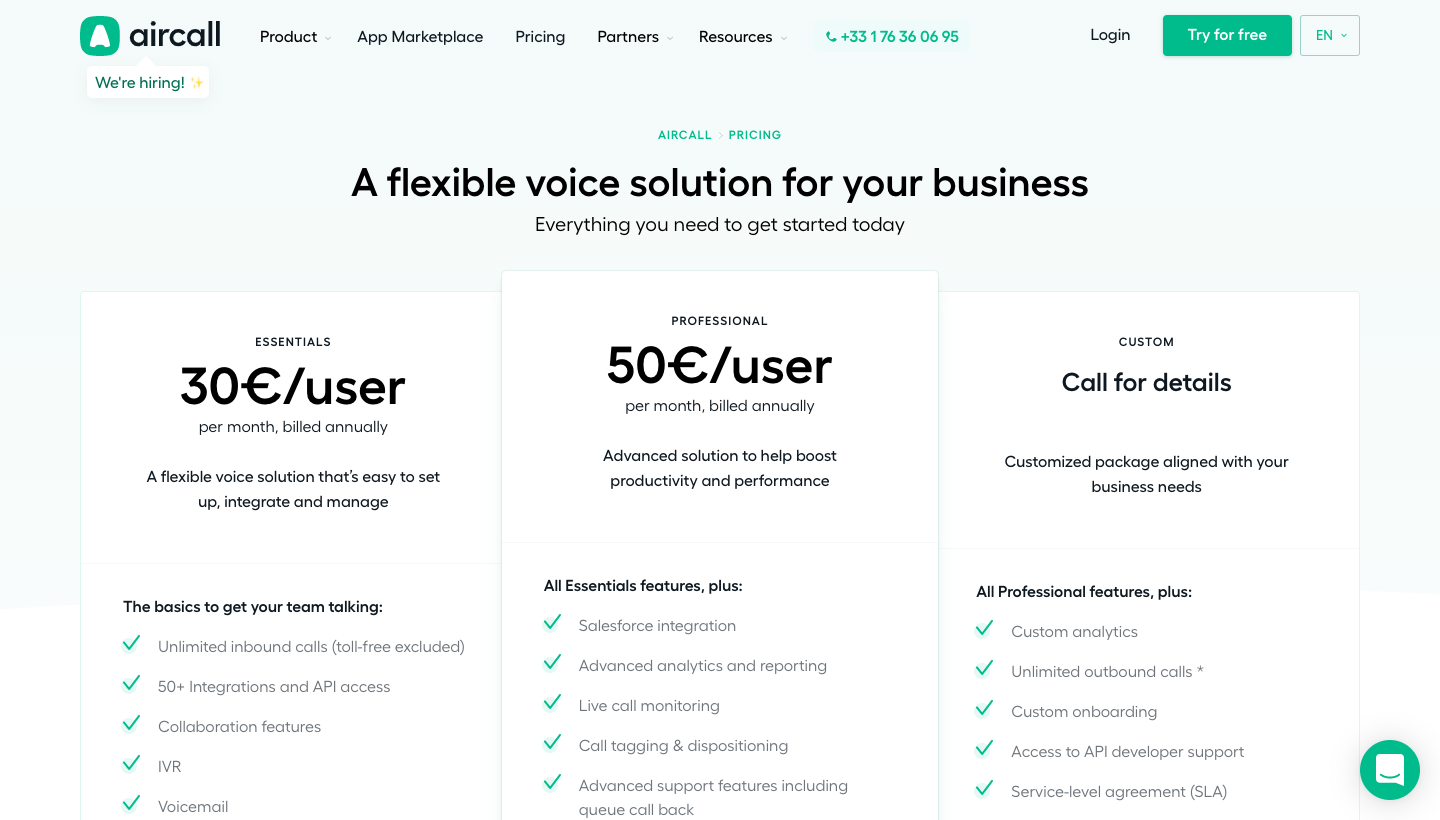 Aircall's Pricing