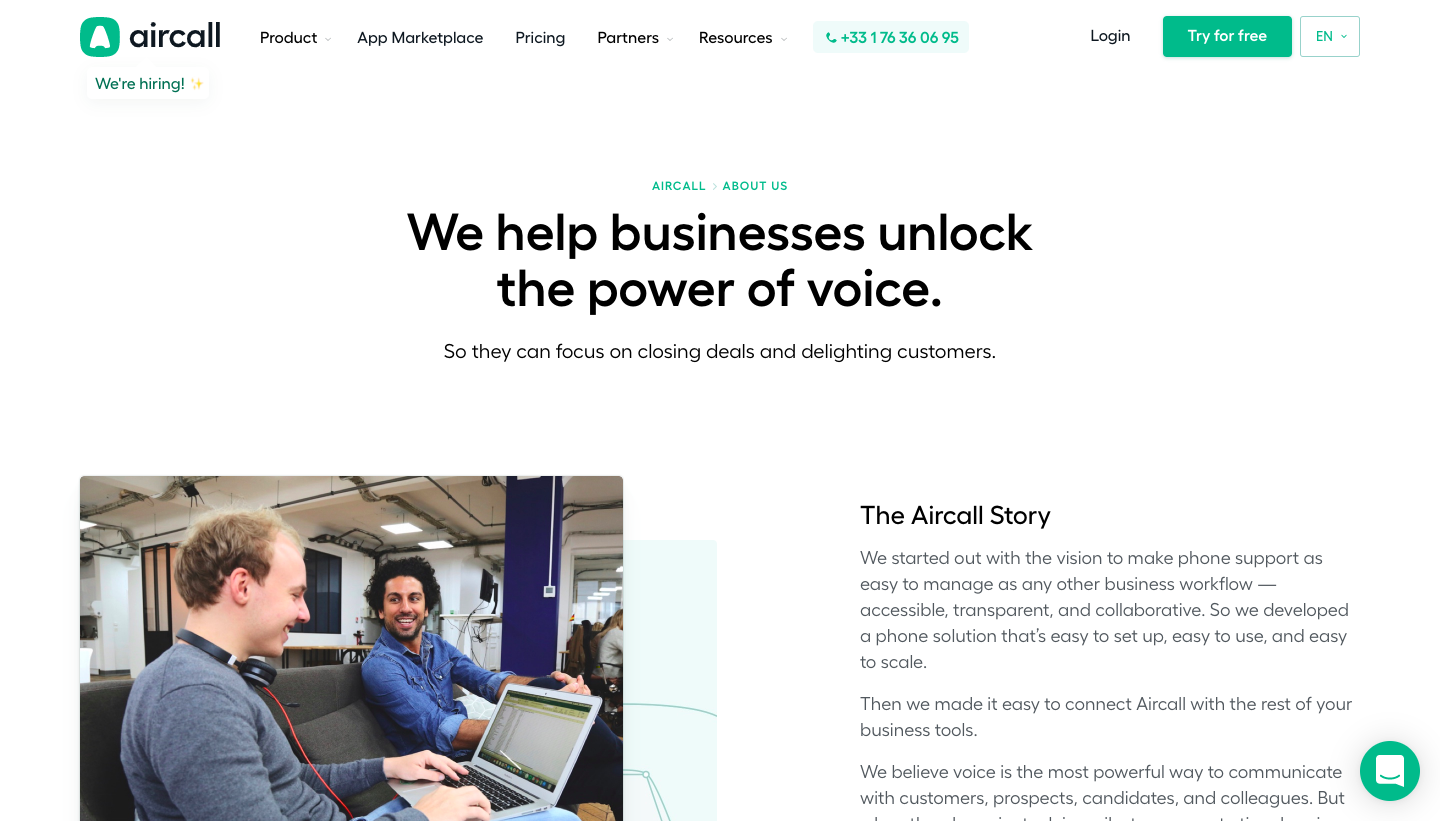 Aircall's About Page