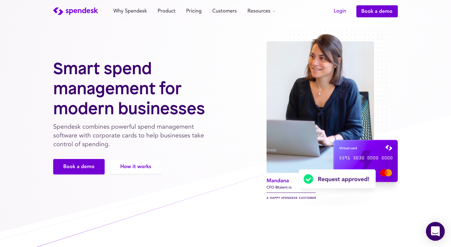 Spendesk's Landing Page