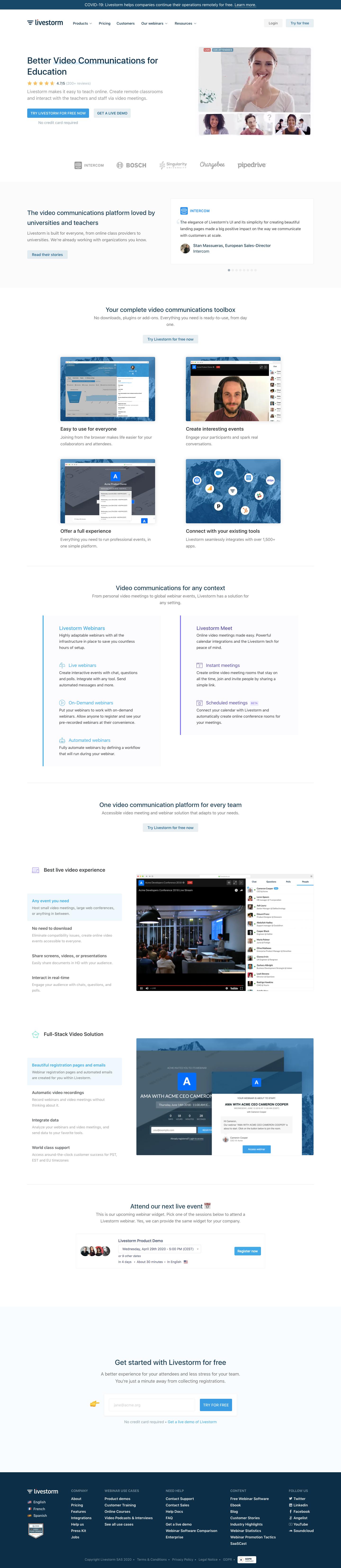 Livestorm's Landing Page
