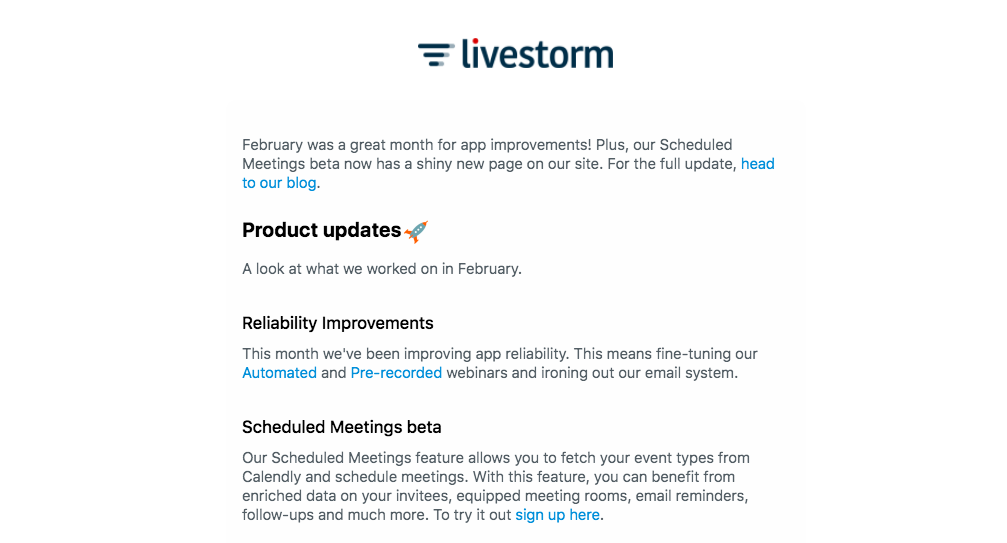 Livestorm Product Update Email