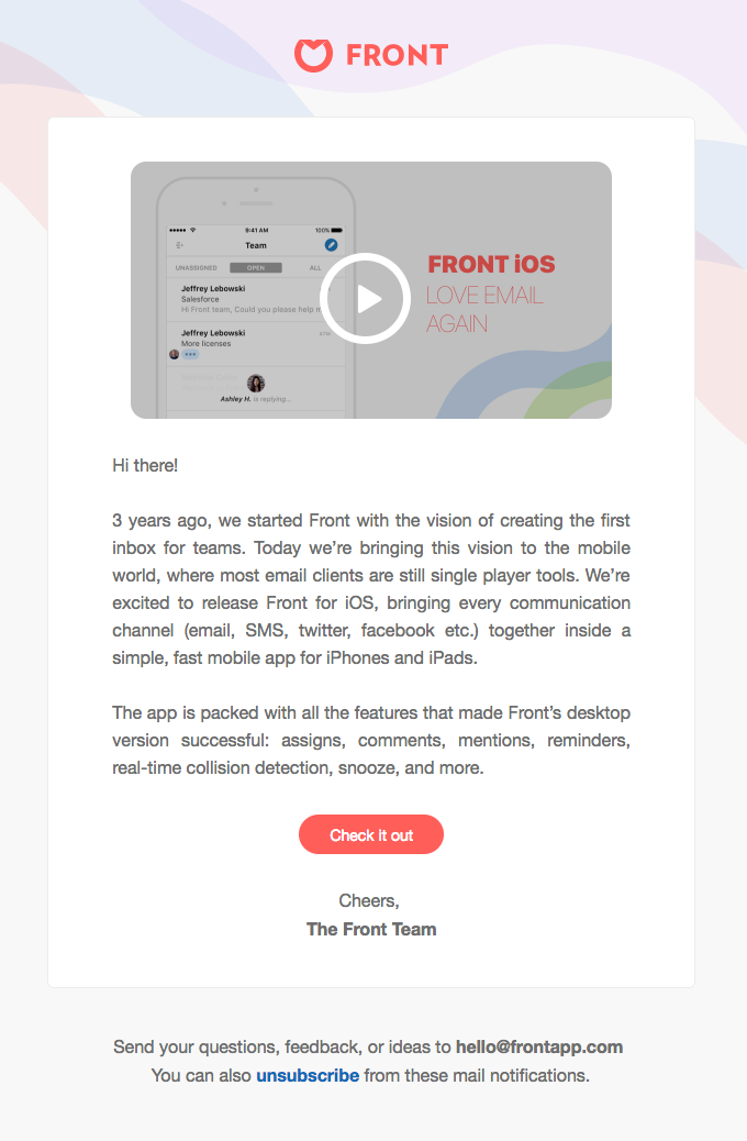 Front Product Update Email