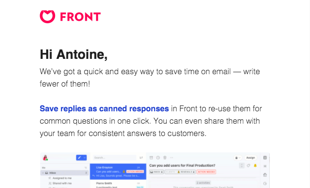 Front Onboarding Email Flow