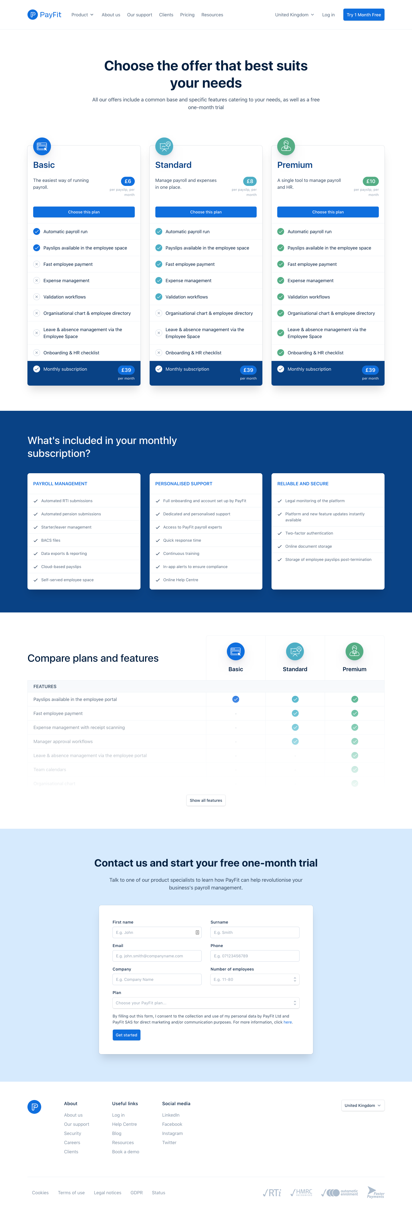 Payfit Pricing Page