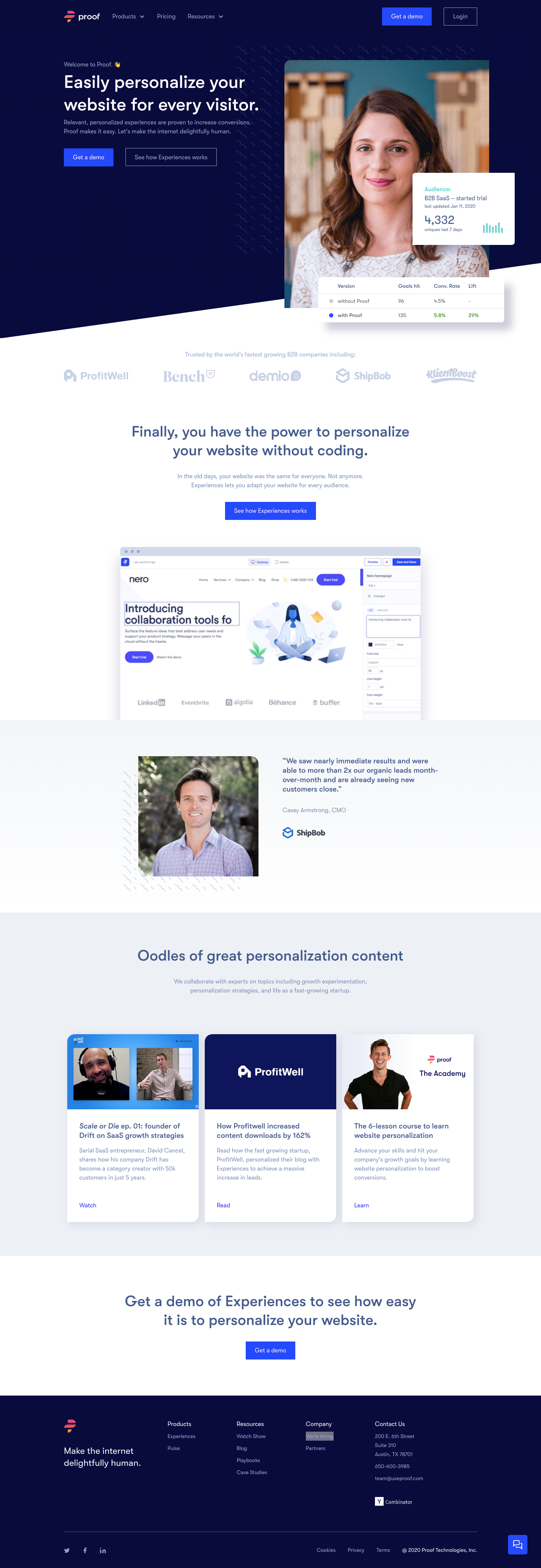 Proof Landing Page