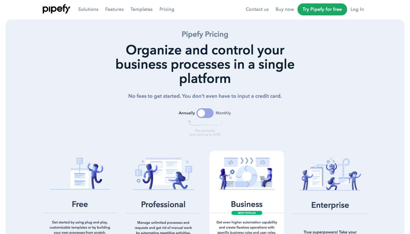 Pipefy Pricing Page