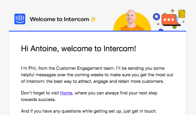 Intercom Welcome Email