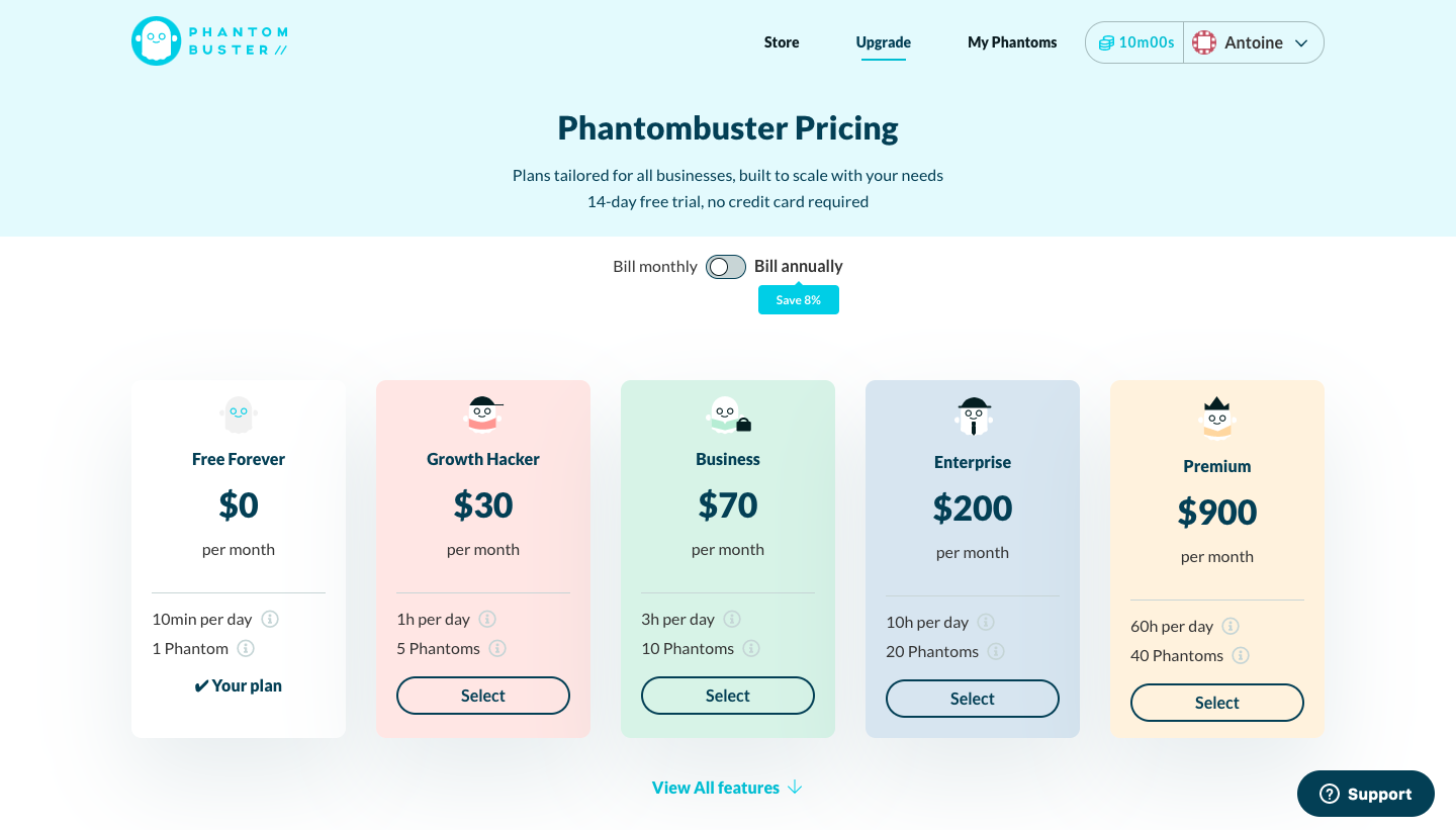 Phantombustuer Pricing Page