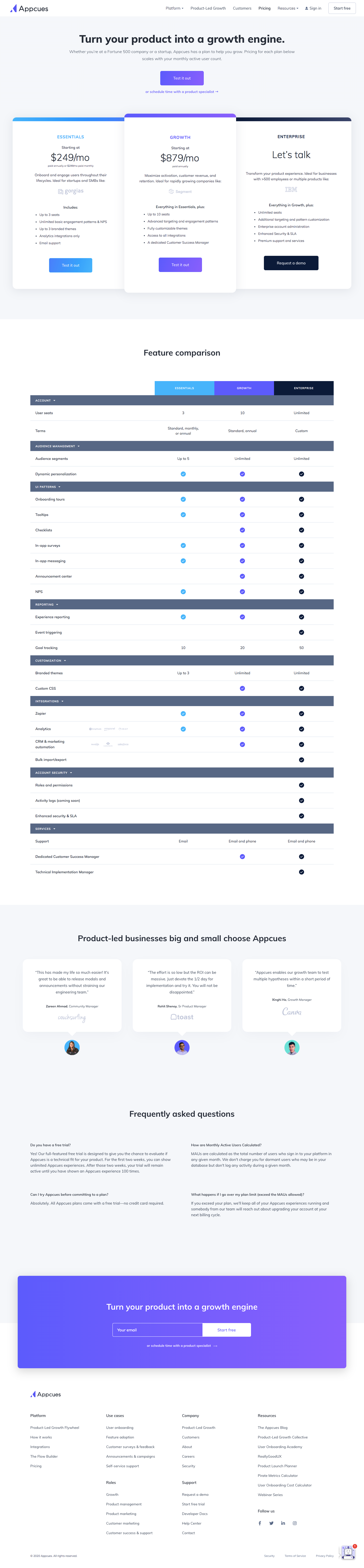 Appcues Pricing Page