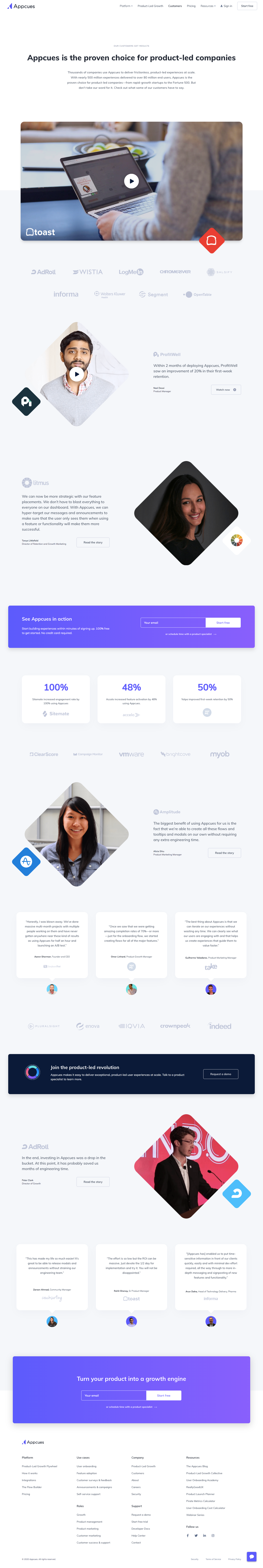 Appcues Customers Page