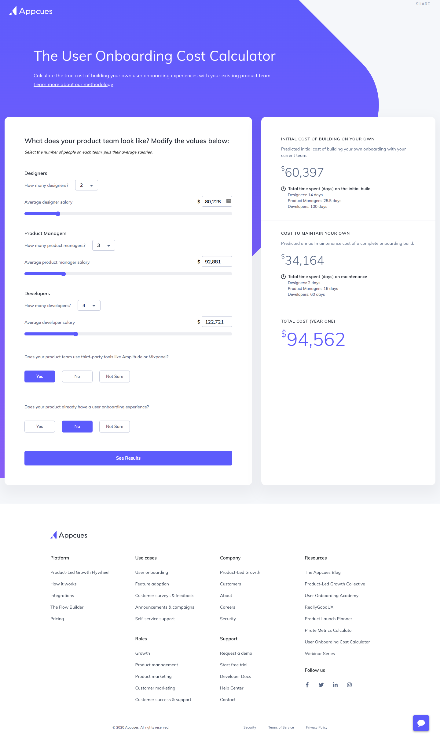 Appcues User Onboarding Cost Calculator