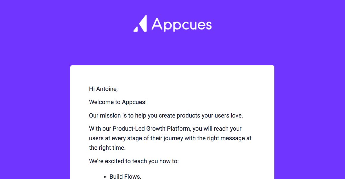 Appcues Welcome Email