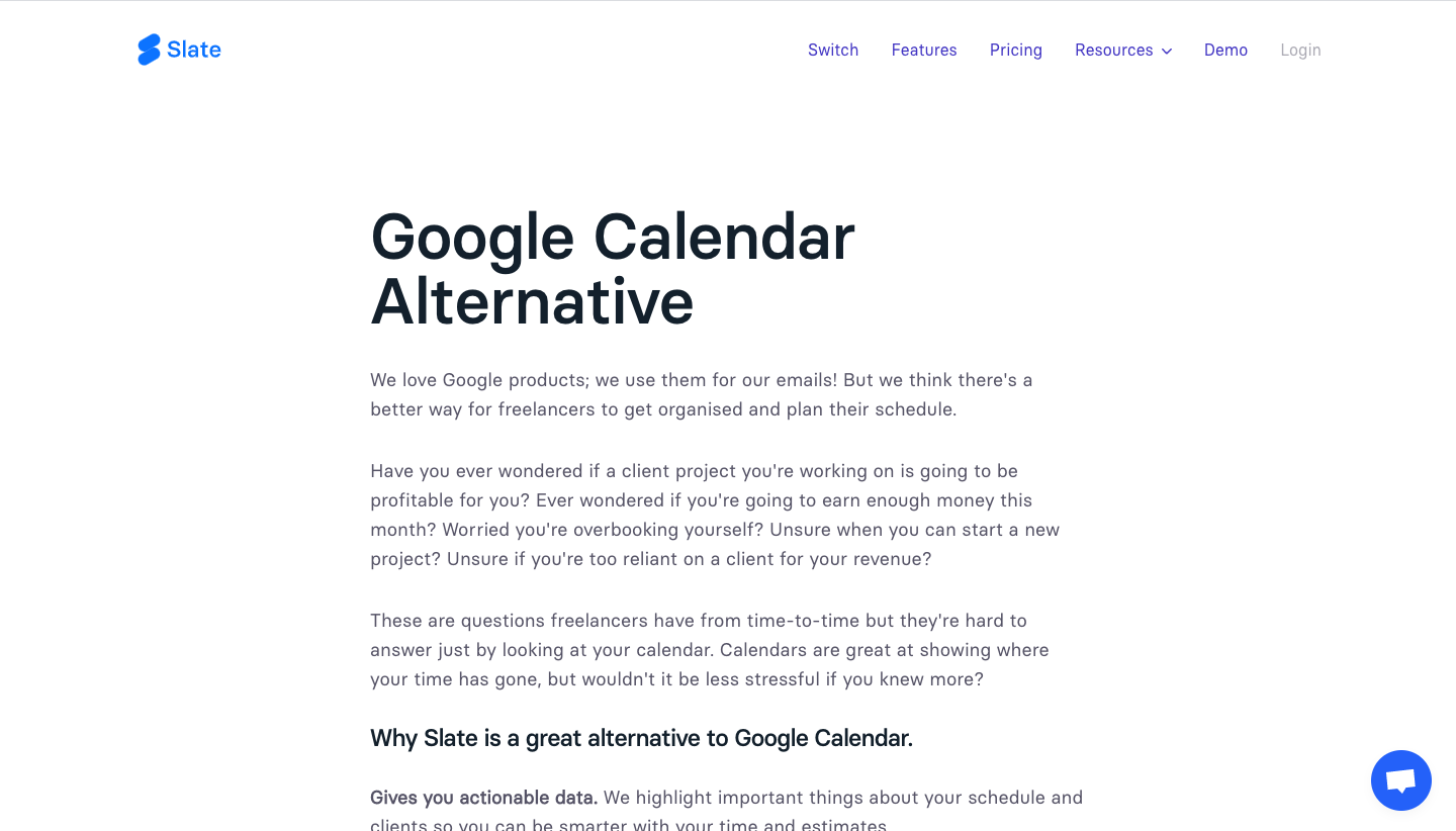 Slate Compared to Google Calendar