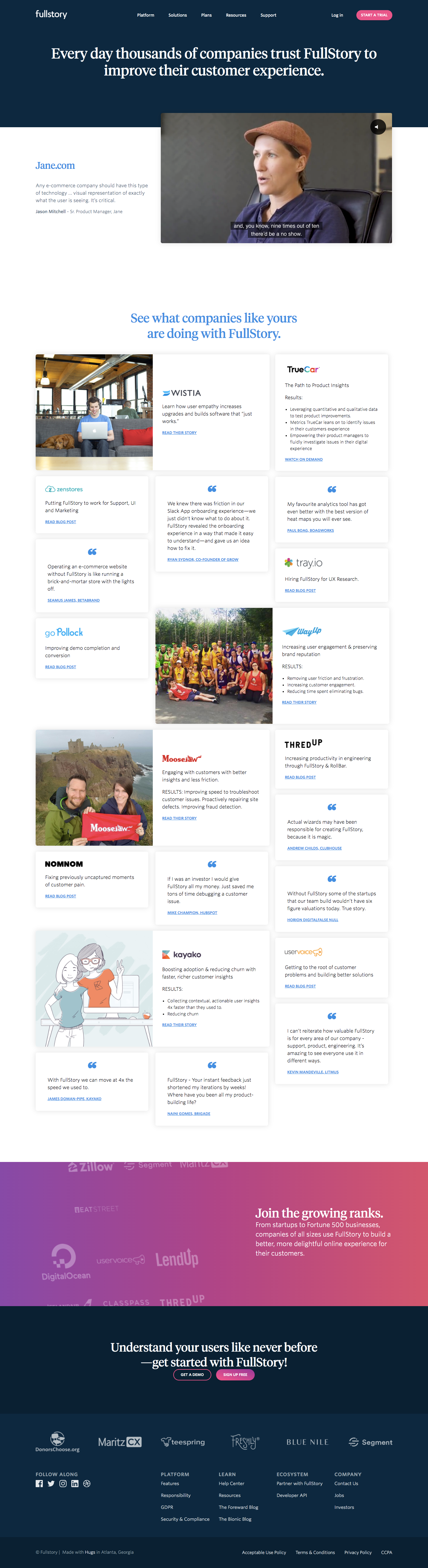 Fullstory Customers Page