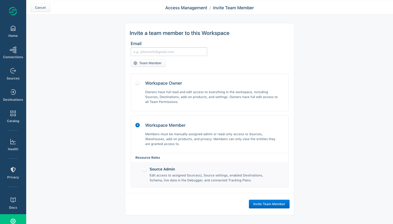 Segment Invite Team Members