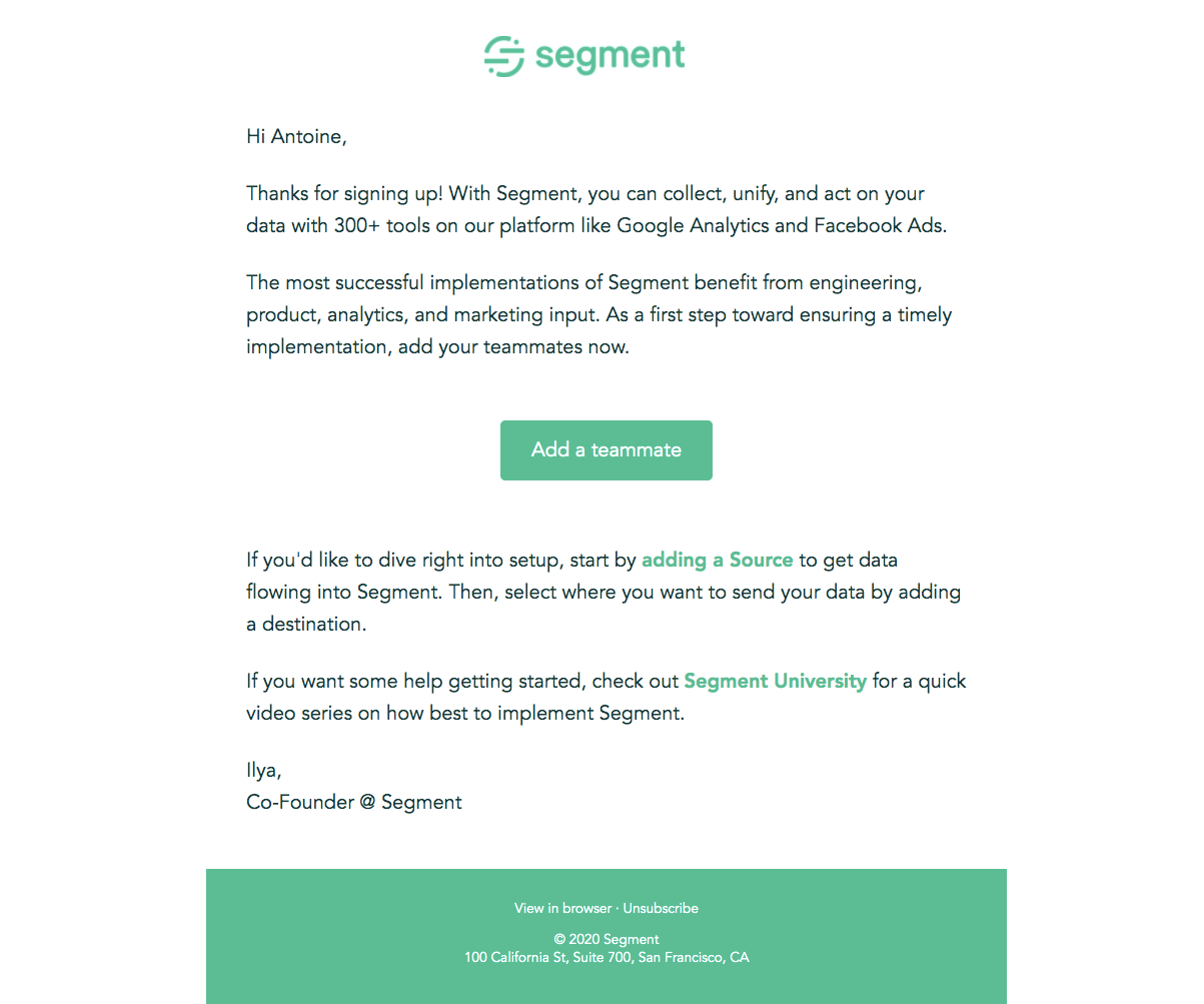 Segment Welcome Email