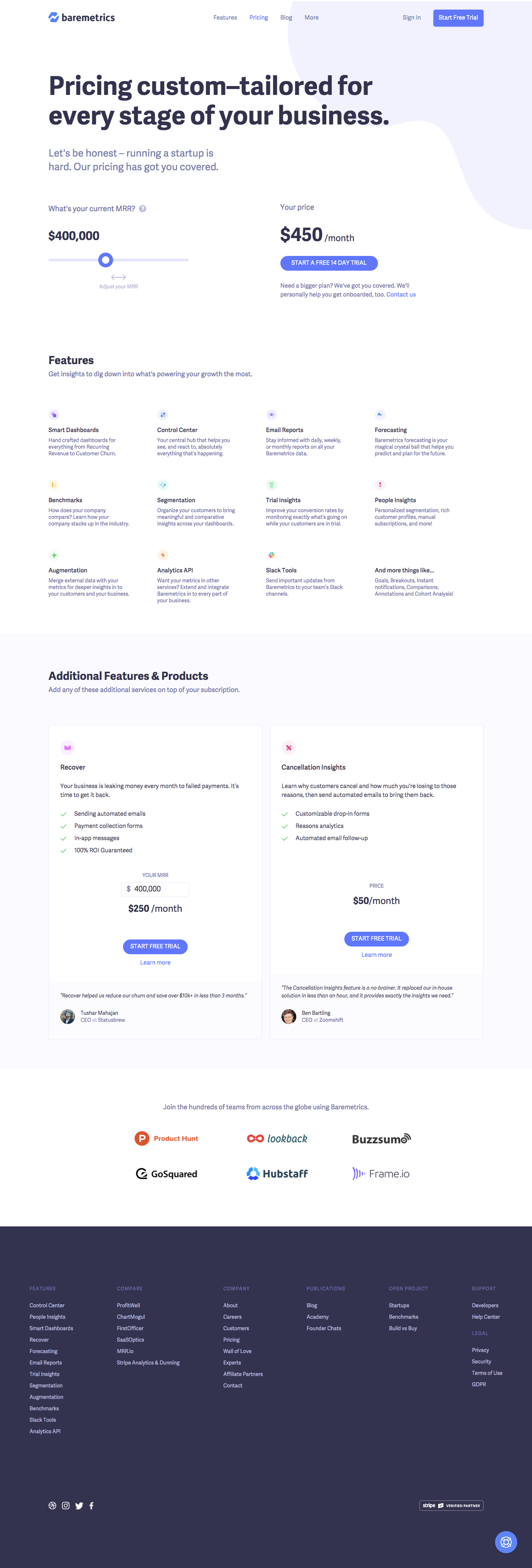 Baremetrics Pricing Page