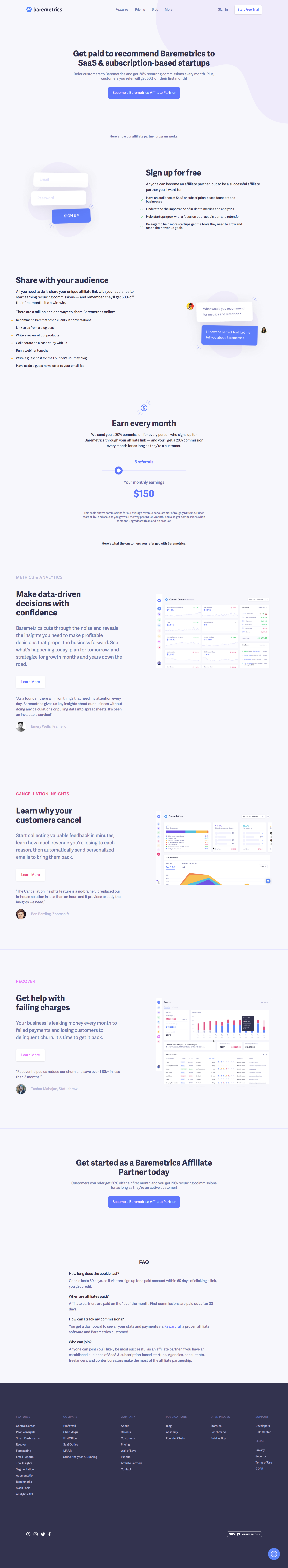 Baremetrics Affiliate Page