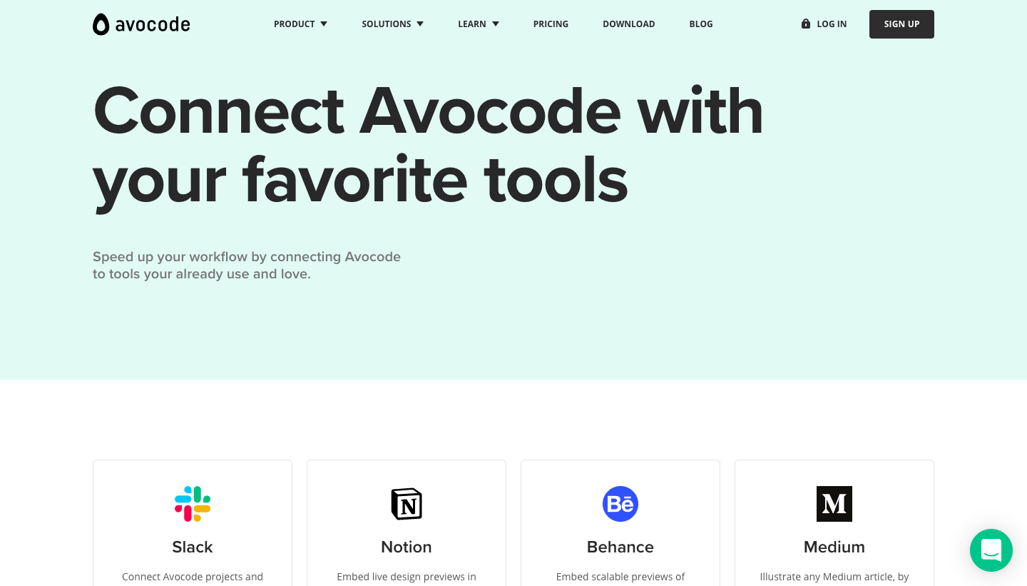 Avocode Integrations Page