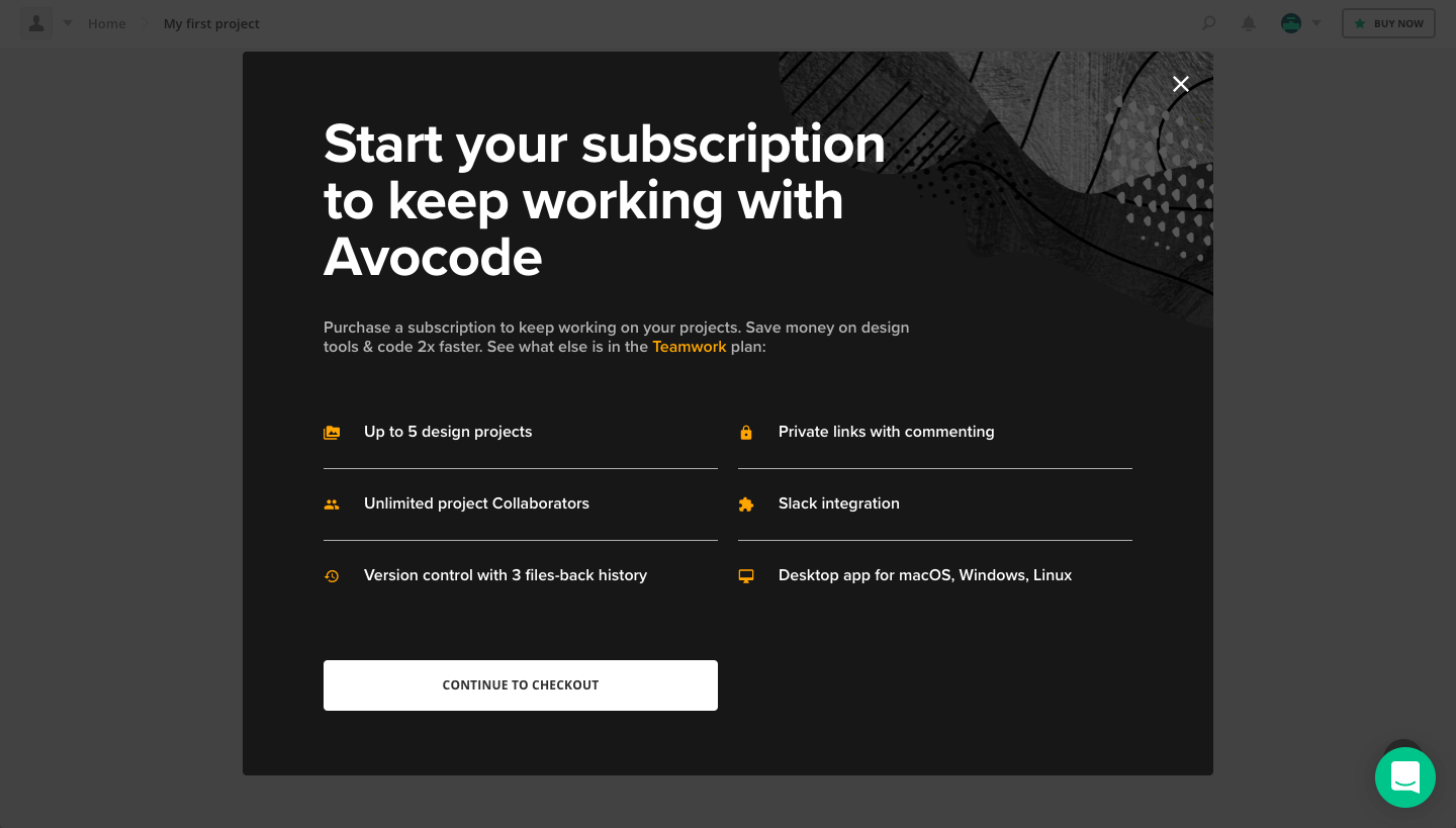 Avocode Upgrading Page