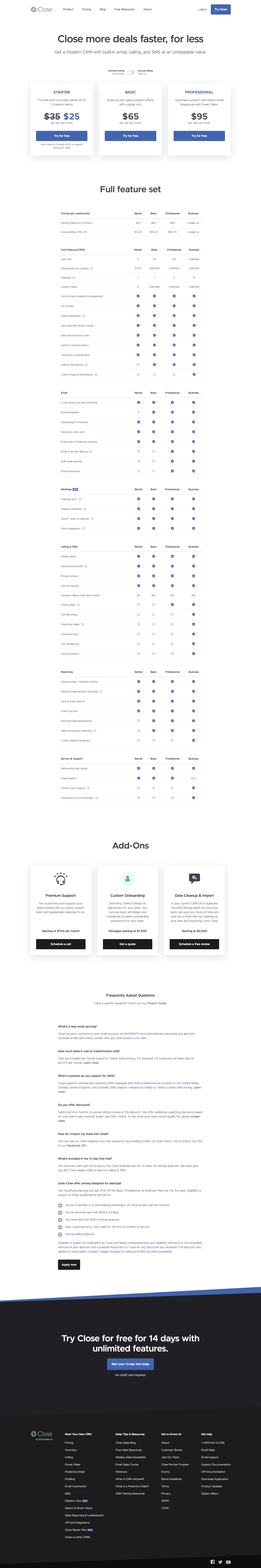 Close Pricing Page