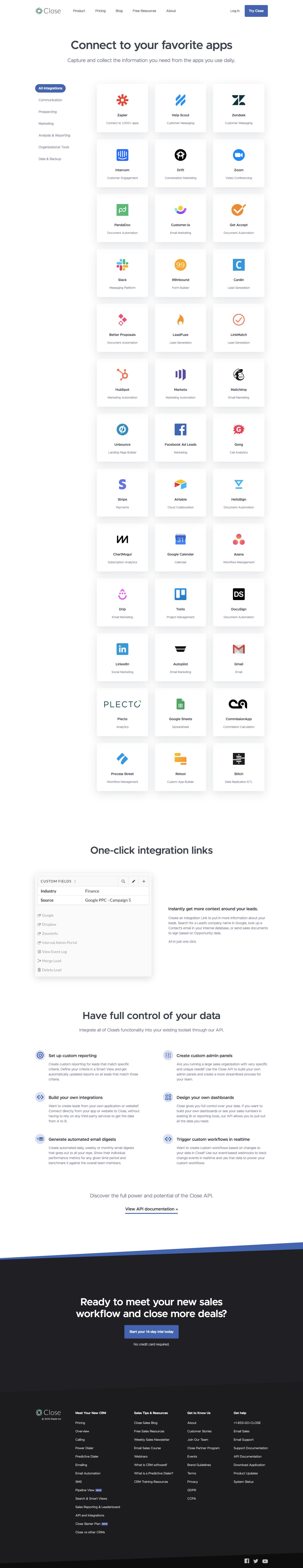 Close Integration Page