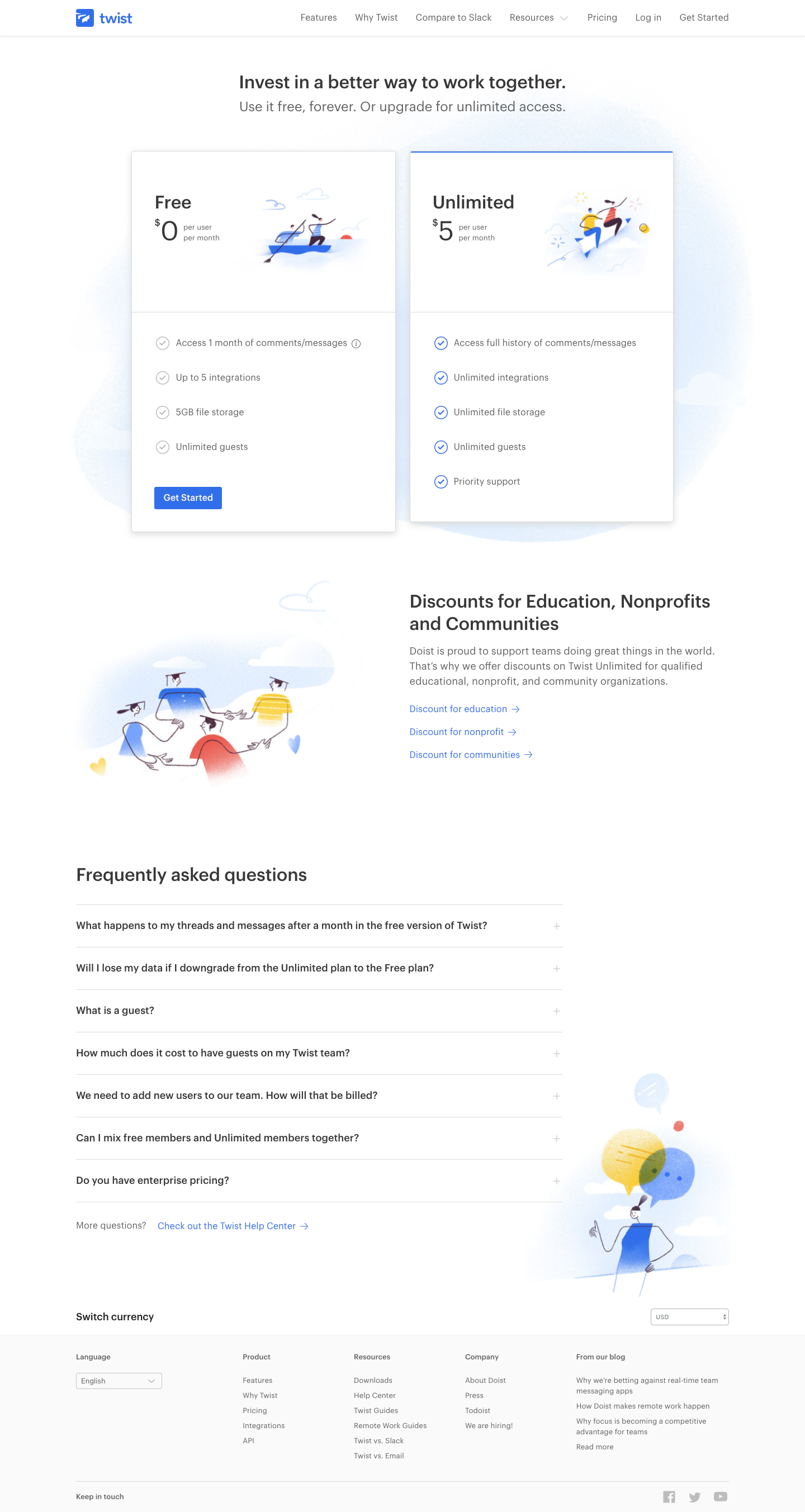 Twist Pricing Page