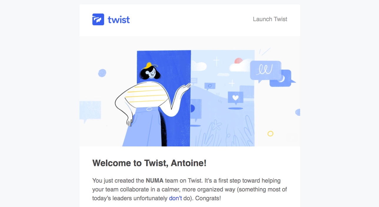 Twist Welcome Email