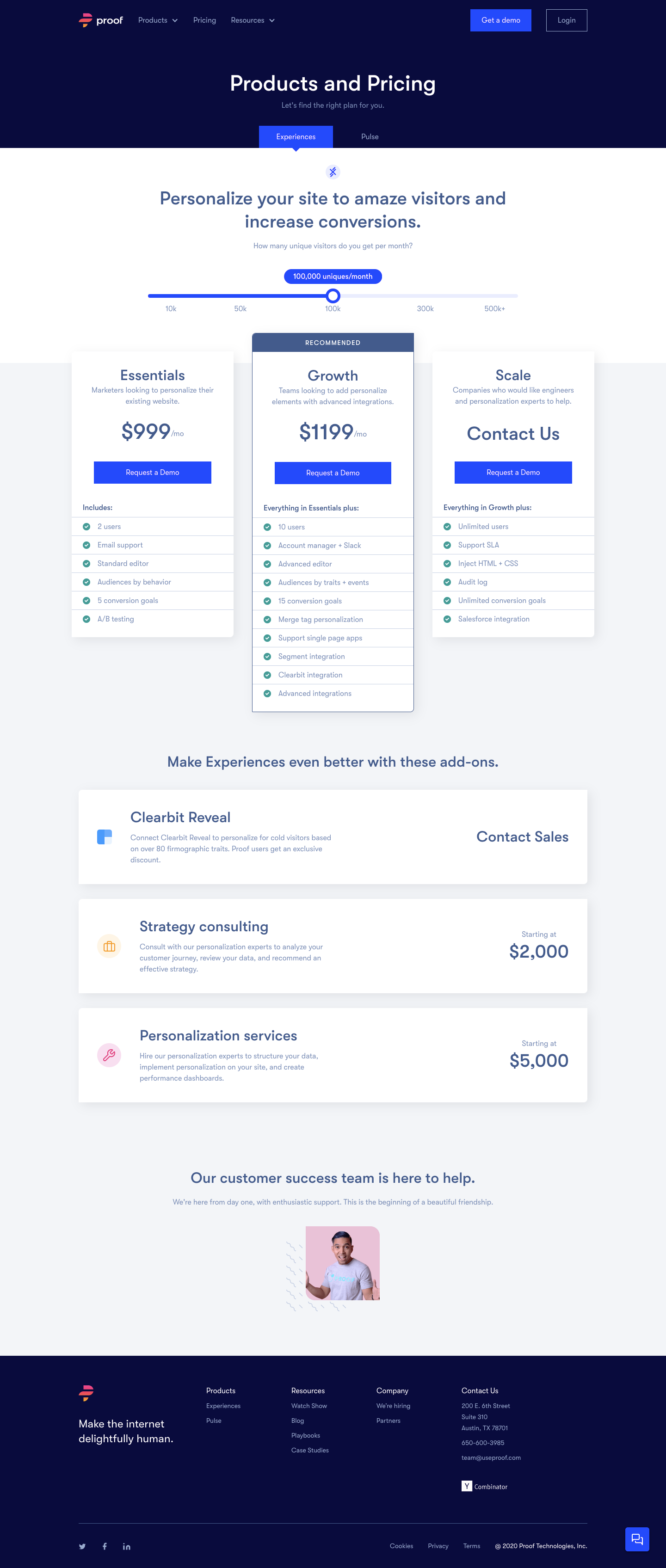 Proof Pricing Page