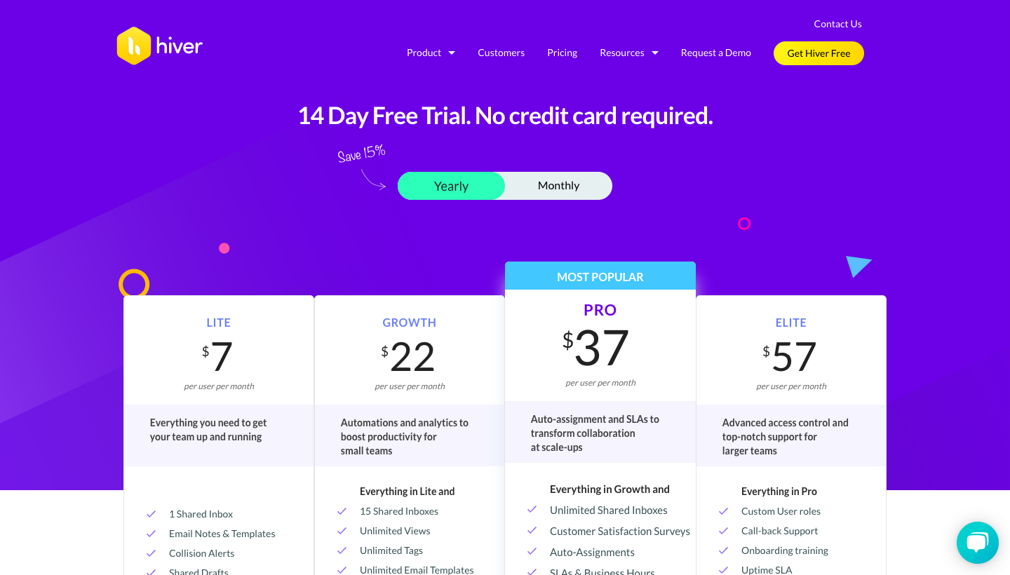 Hiver Pricing Page