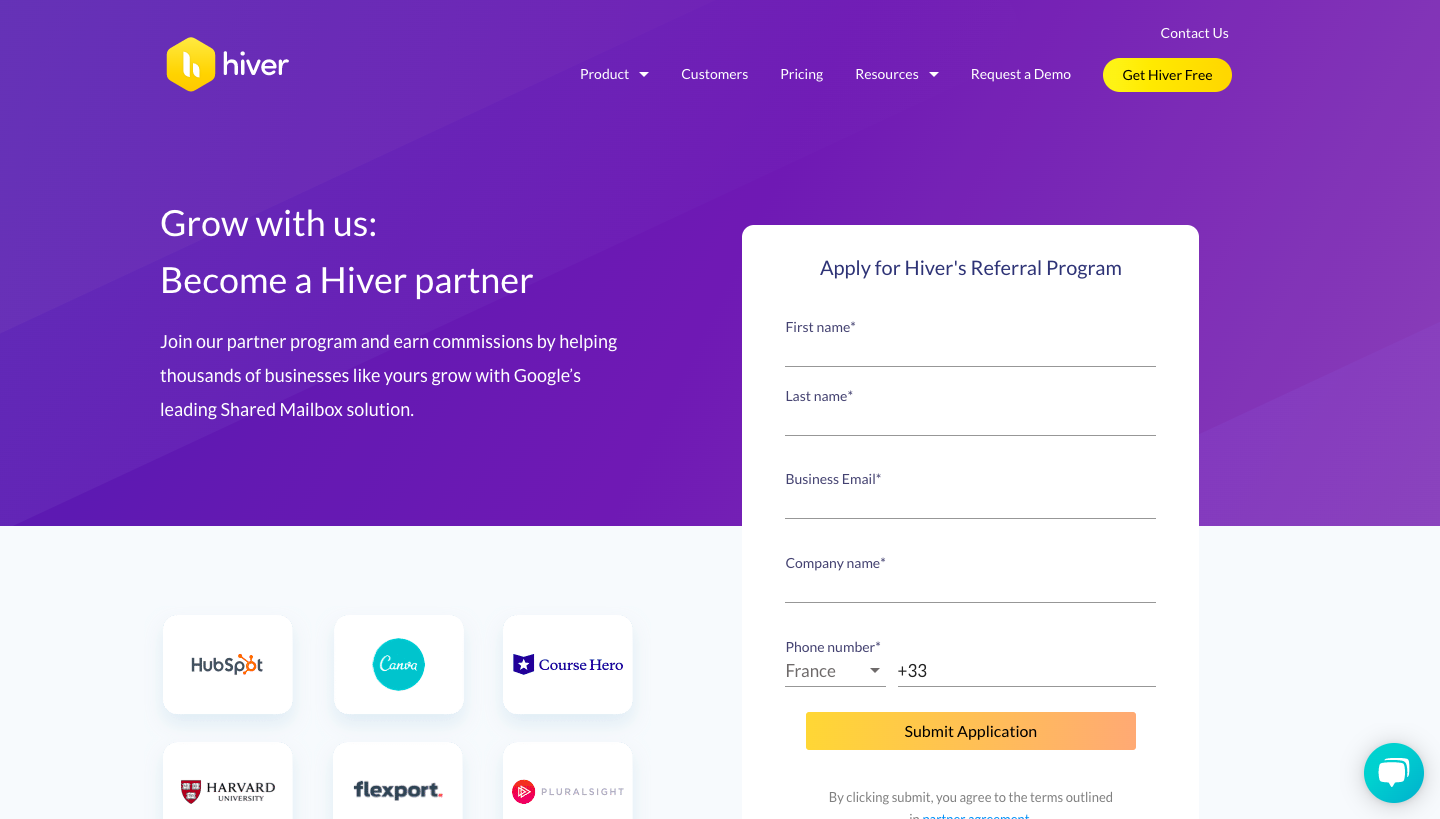 Hiver Affiliate Page