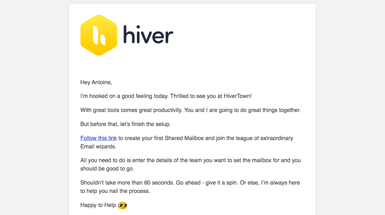 Hiver Welcome Email