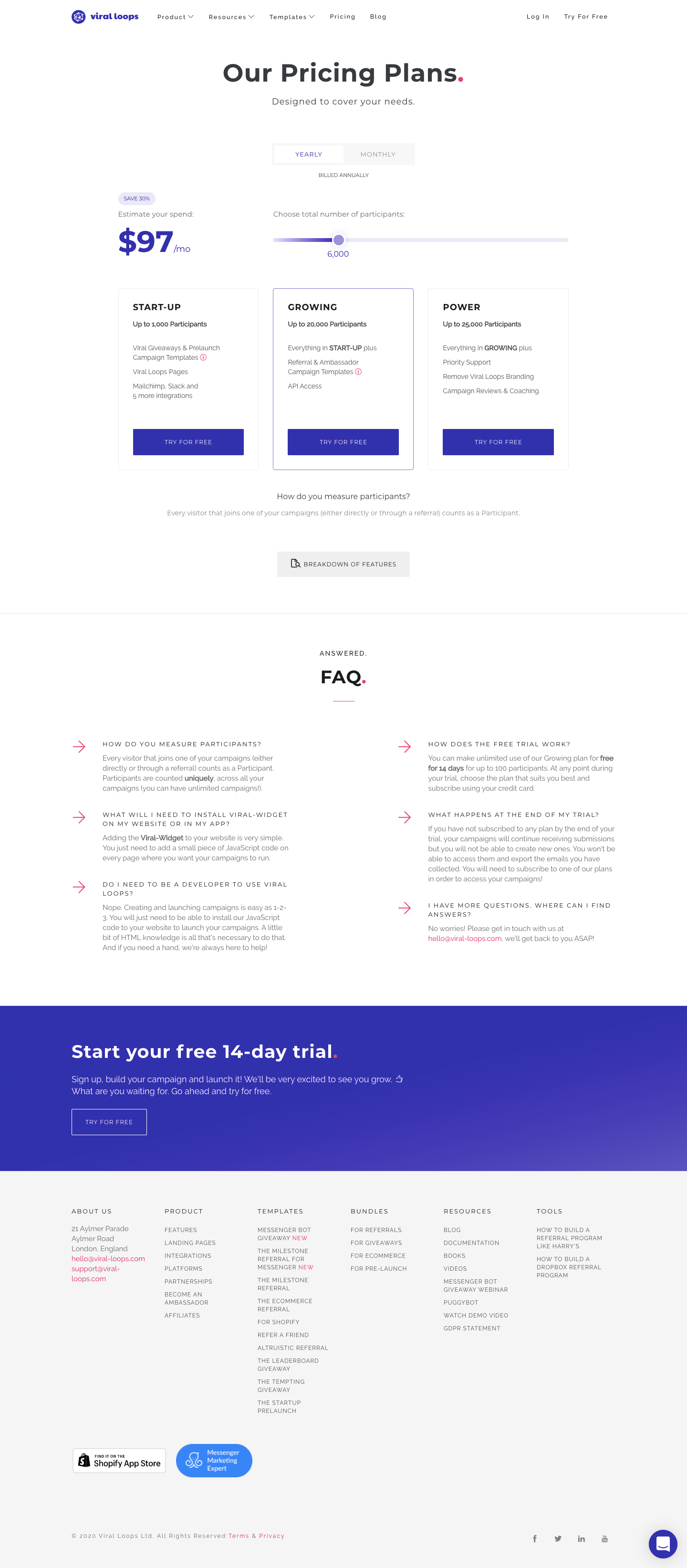 Viral Loops Pricing Page