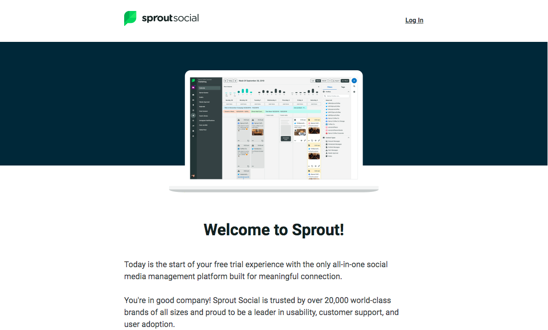 Sprout Social Welcome Email