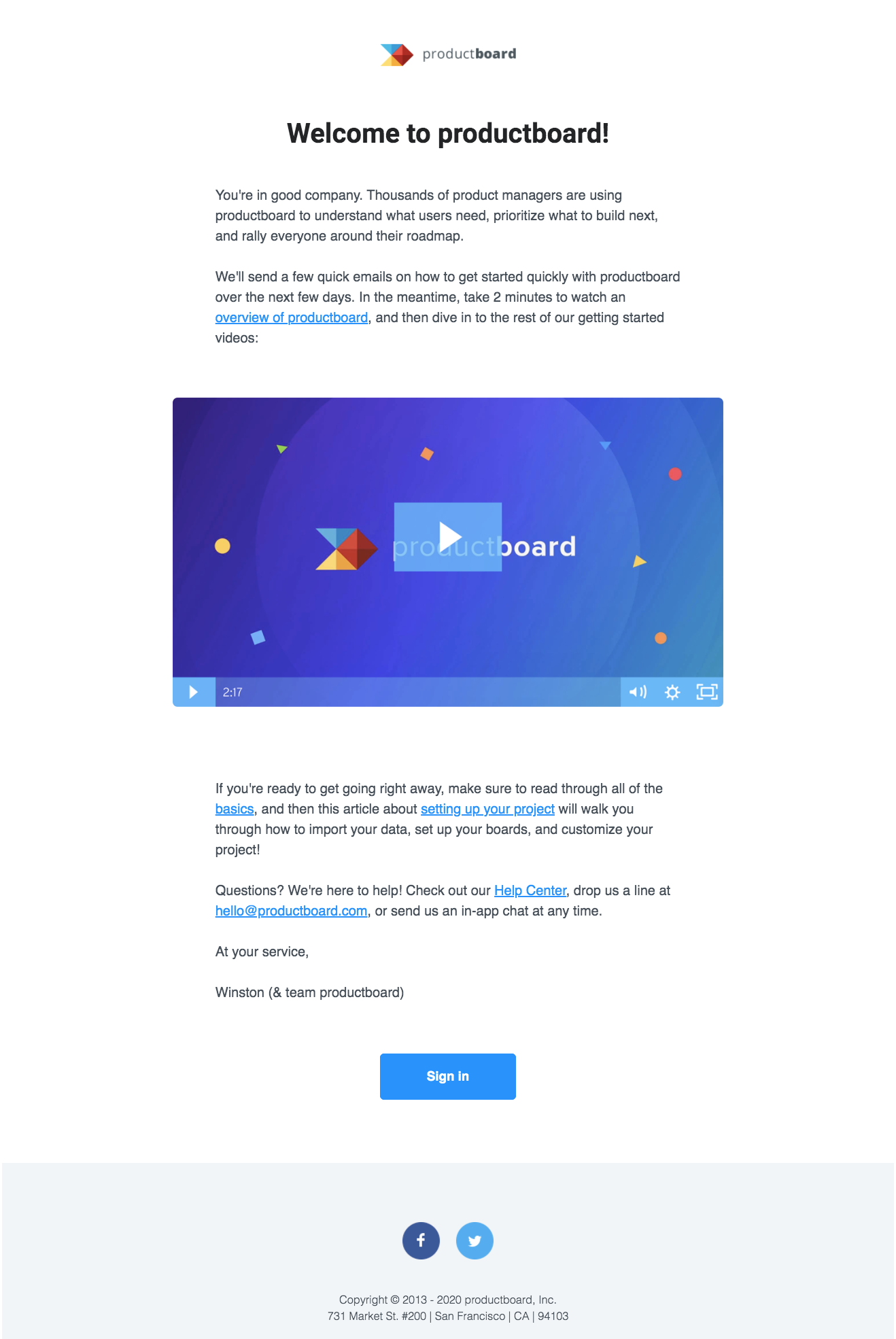 ProductBoard Welcome Email