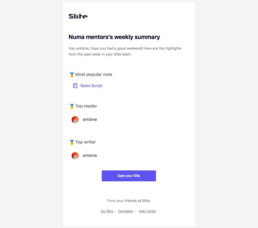 Slite Activity Summary