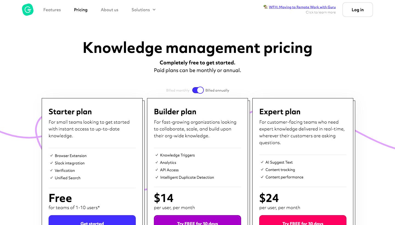 Guru Pricing Page