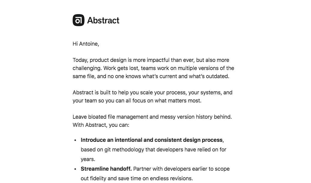 Abstract Welcome Email
