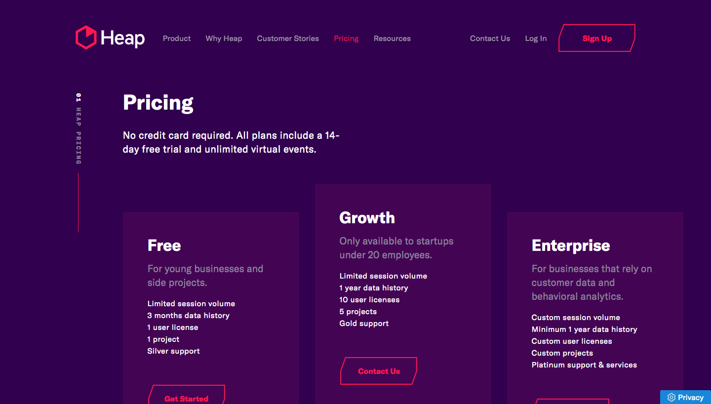 Heap Pricing Page