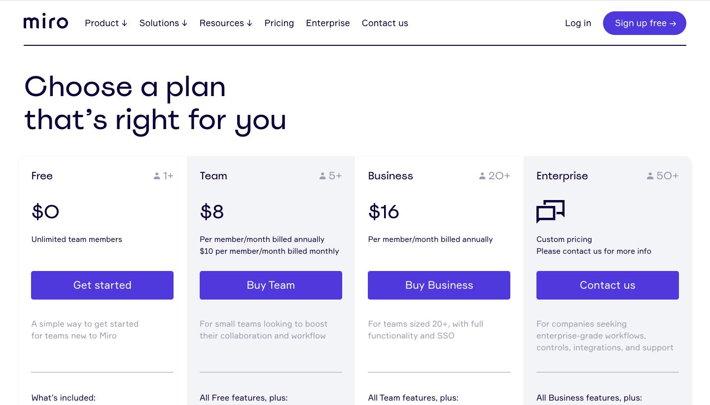 Miro Pricing Page