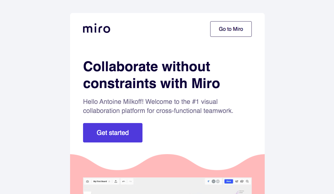 Miro Welcome Email